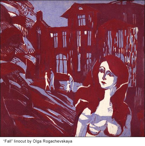 fall linocut by Olga Rogachevskaya