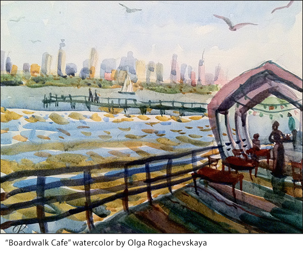Boardwalk cafe watercolor by Olga Rogachevskaya