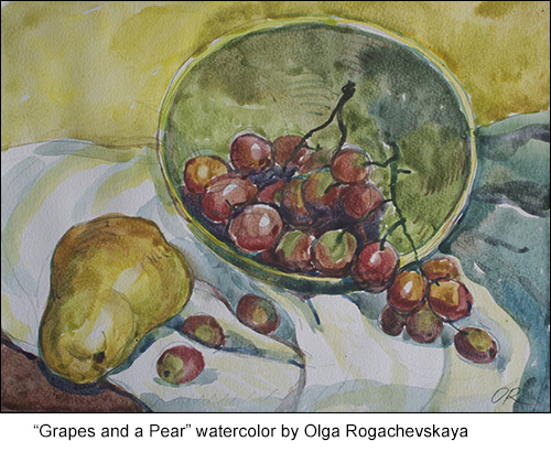 grapes and a pear still-life watercolor