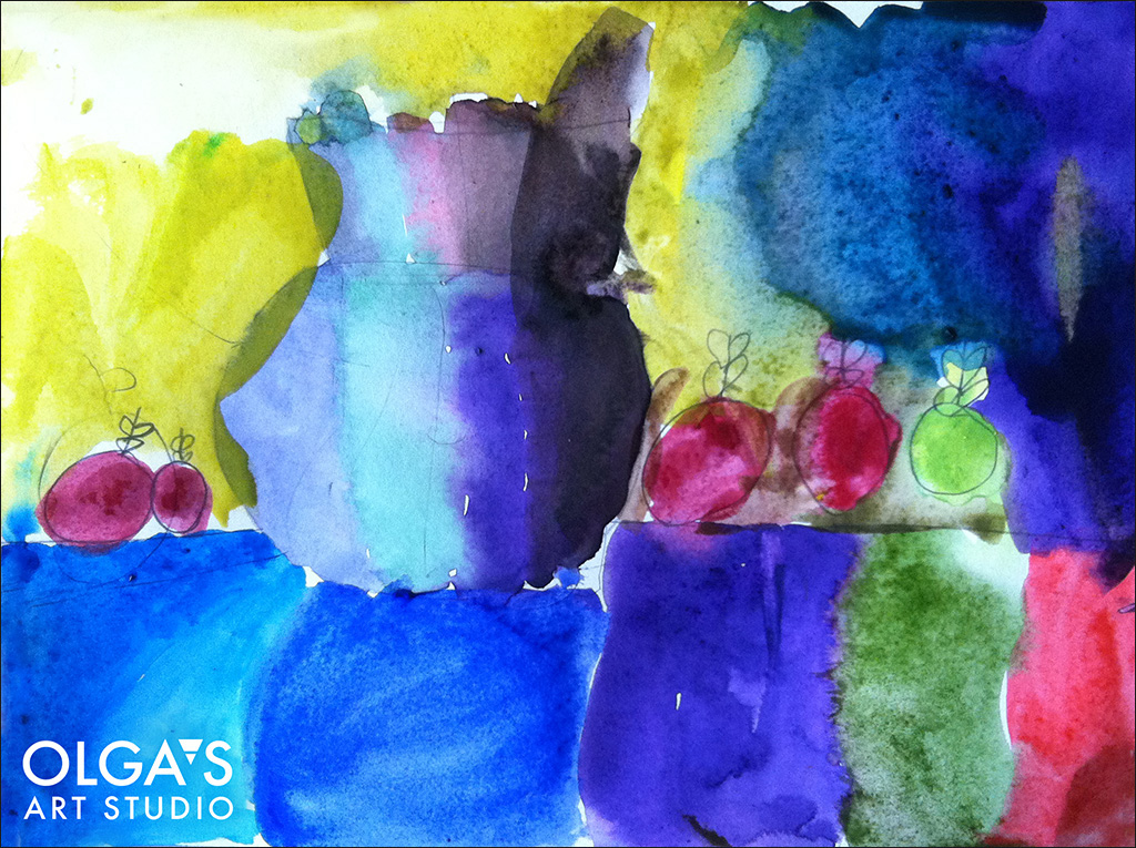 still-life watercolor by kids