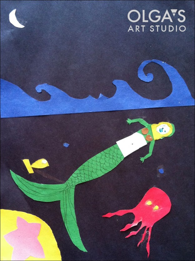 mermaid paper collage