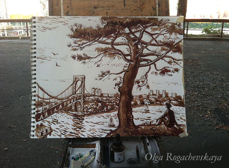 George Washington bridge ink drawing by Olga Rogachevskaya