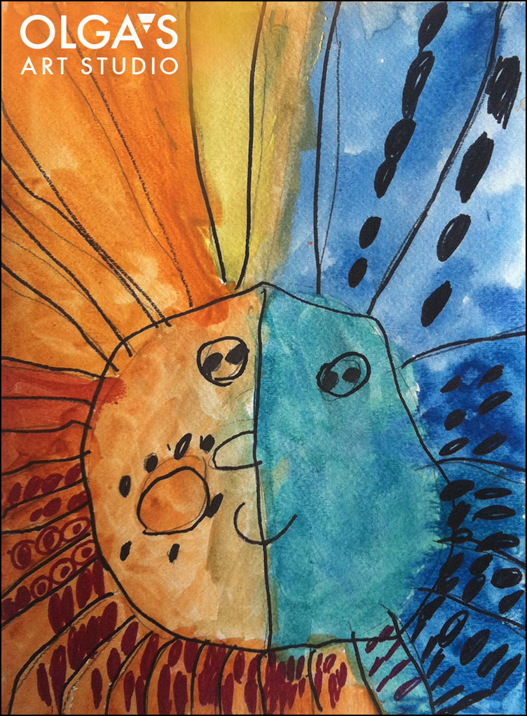 warm and cool colors - sun and moon watercolor