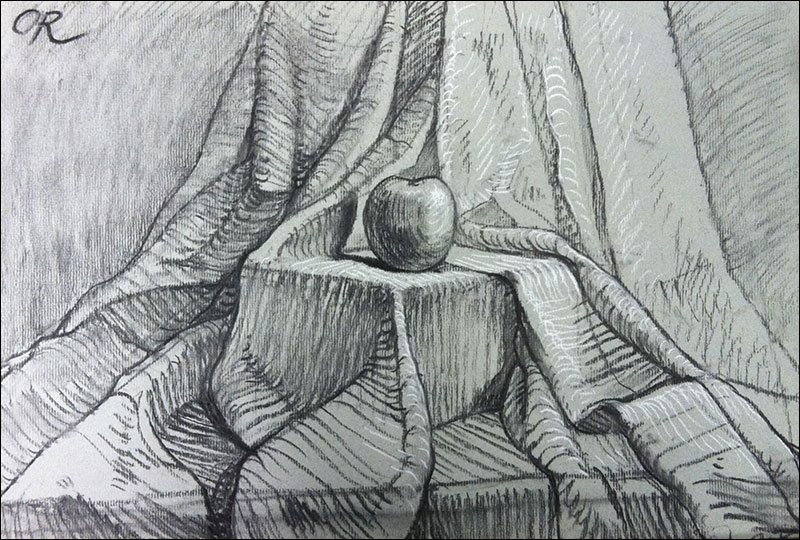 Drapery drawing in charcoal by Olga Rogachevskaya