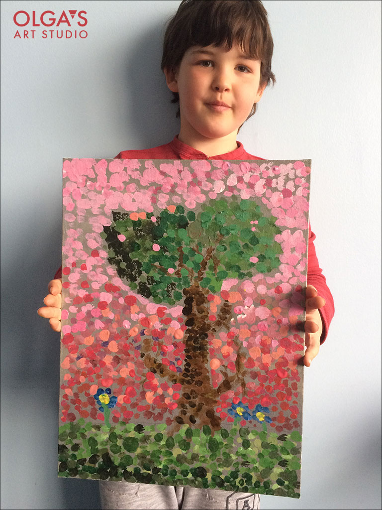 Pointillism tree painting