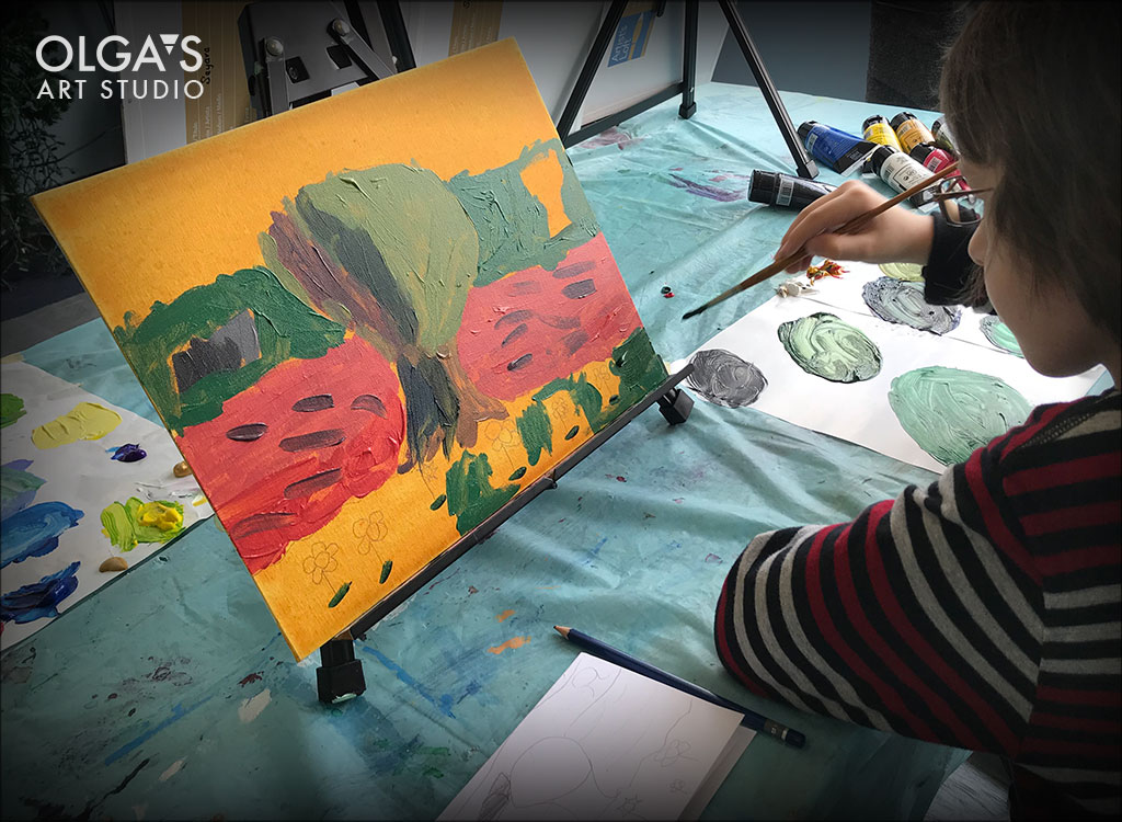 Impressionist landscape in acrylics by kids
