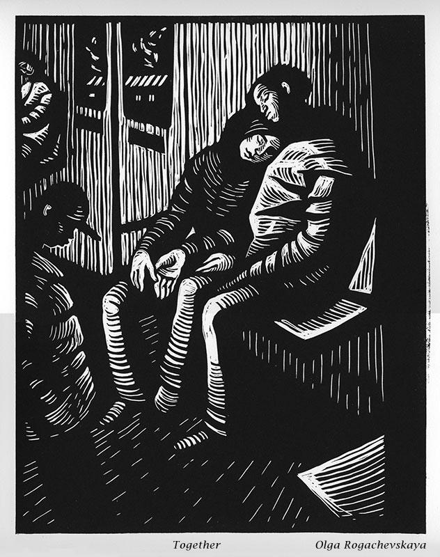 Linocut by Olga Rogachevskaya