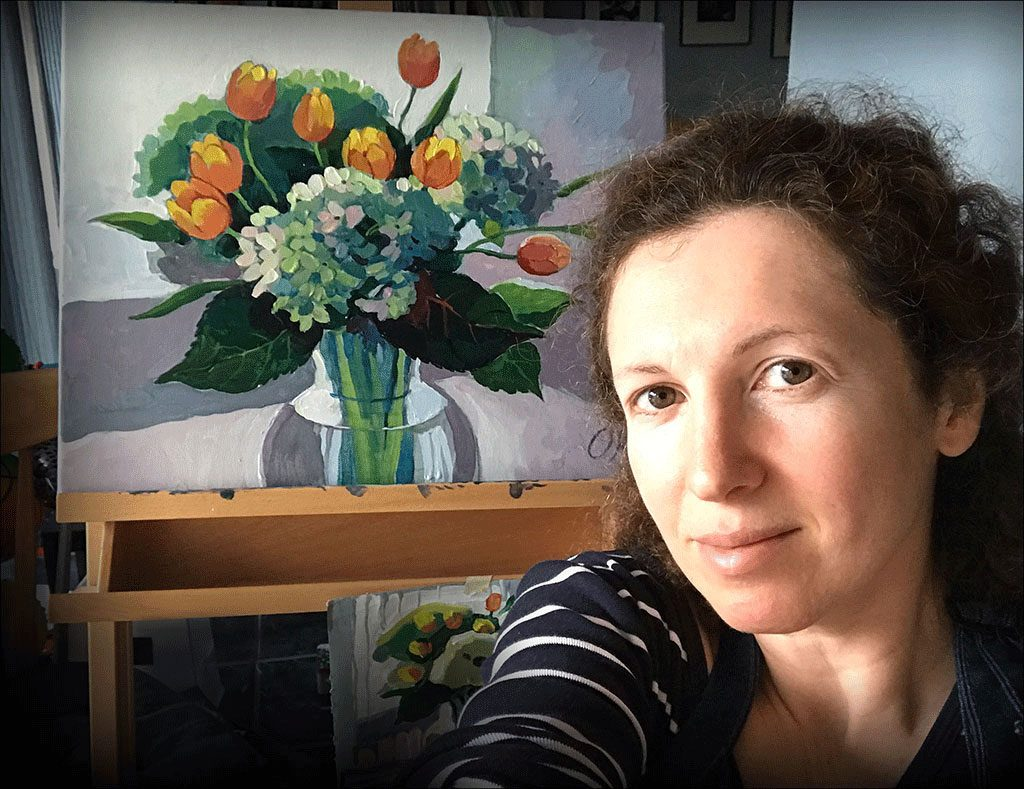 Olga Rogachevskaya and her painting